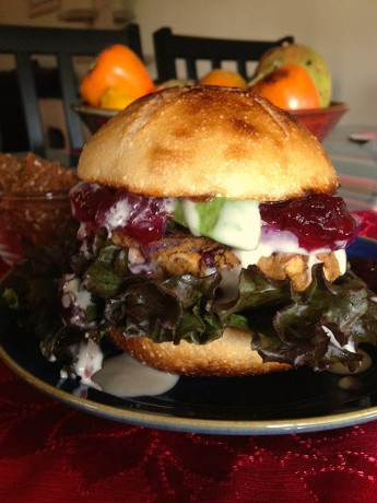 Yummy Yamburgers with Creamy Roasted Sesame Dressing and Cranberry Sauce